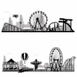 Vector illustration.Roller Coaster Silhouette .Carousel
