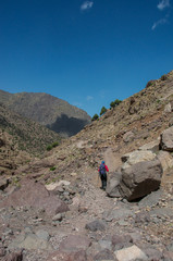 Femal trekker on Toubkal