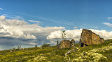 Lonely stones in the tundra. Kola Peninsula