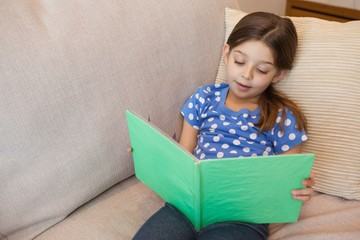 Girl reading a book on sofa