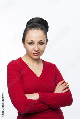 Beautiful female model wearing red jumper