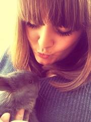 cute girl with tiny bunny
