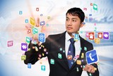 Asian businessman touching app interface