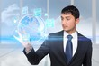 Asian businessman touching global interface