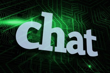 Chat against green and black circuit board