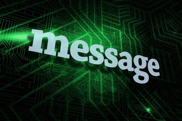 Message against green and black circuit board