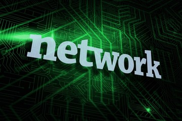 Network against green and black circuit board