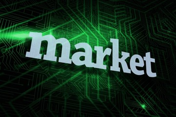 Market against green and black circuit board