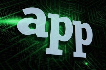 App against green and black circuit board