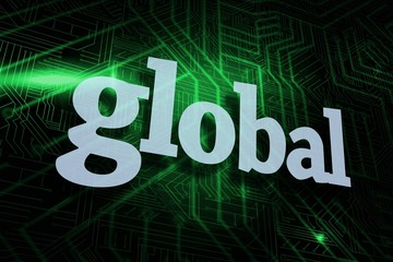 Global against green and black circuit board