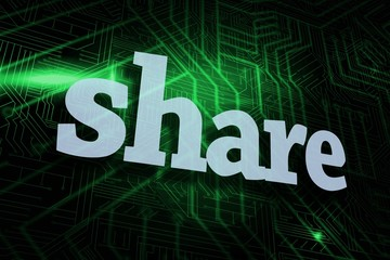 Share against green and black circuit board