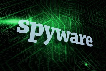 Spyware against green and black circuit board