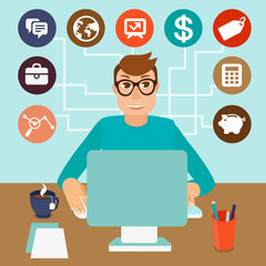 Vector self employed man in flat style