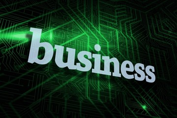 Business against green and black circuit board