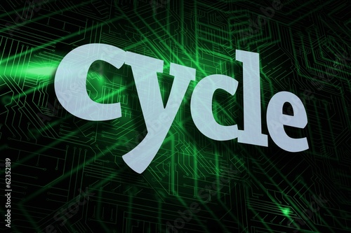 Cycle against green and black circuit board