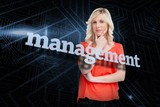 Management against futuristic black and blue background
