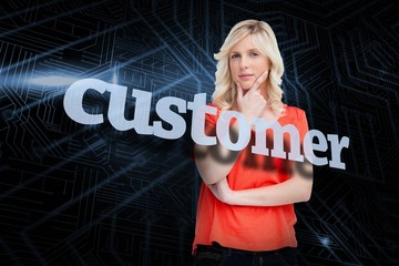 Customer against futuristic black and blue background