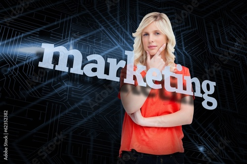 Marketing against futuristic black and blue background