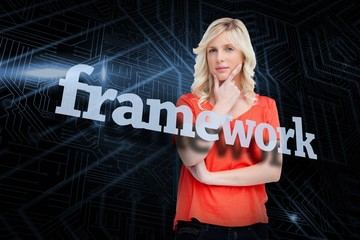 Framework against futuristic black and blue background