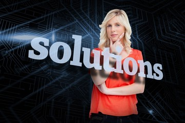 Solutions against futuristic black and blue background