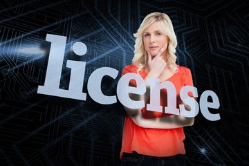 License against futuristic black and blue background