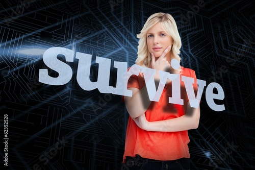 Survive against futuristic black and blue background