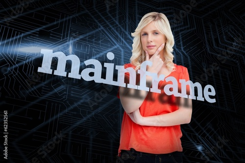 Mainframe against futuristic black and blue background