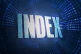 Index against futuristic dotted blue and black background