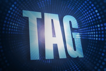 Tag against futuristic dotted blue and black background