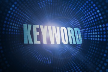 Keyword against futuristic dotted blue and black background