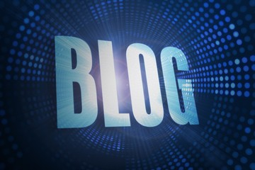 Blog against futuristic dotted blue and black background