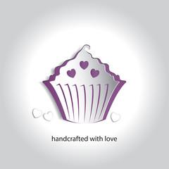 Vector Art Paper Icon Design Cupcake Bakery Shop