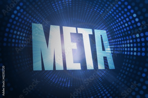 Meta against futuristic dotted blue and black background