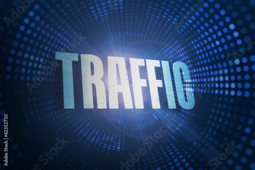 Traffic against futuristic dotted blue and black background