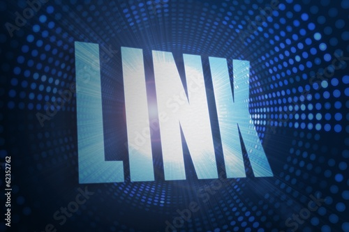 Link against futuristic dotted blue and black background
