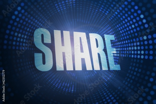 Share against futuristic dotted blue and black background
