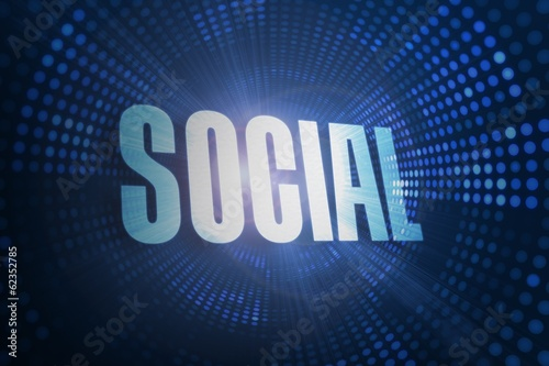 Social against futuristic dotted blue and black background