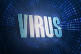 Virus against futuristic dotted blue and black background
