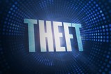 Theft against futuristic dotted blue and black background