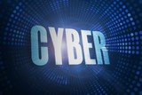 Cyber against futuristic dotted blue and black background