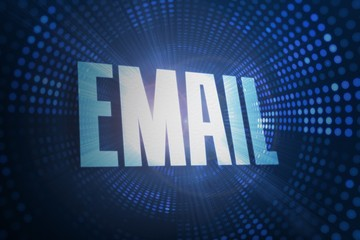 Email against futuristic dotted blue and black background
