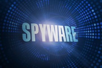 Spyware against futuristic dotted blue and black background