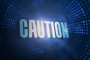 Caution against futuristic dotted blue and black background