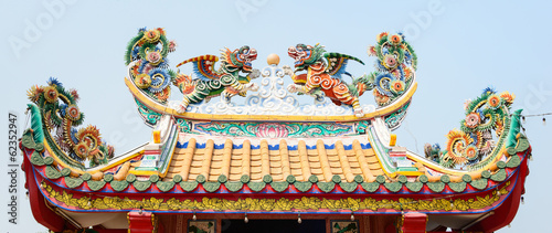 Chinese dragon on a temple's roof