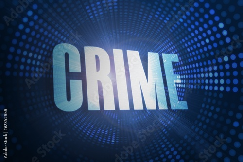 Crime against futuristic dotted blue and black background