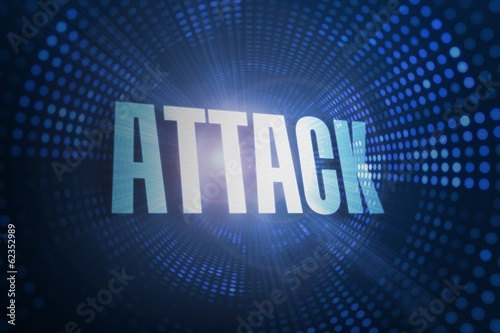 Attack against futuristic dotted blue and black background