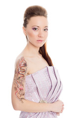Beautiful girl in a lilac dress