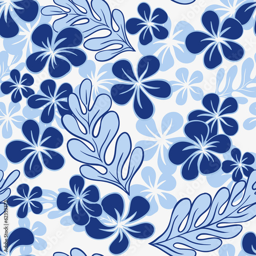 Vector Blue Tropical Flowers Seamless Pattern?