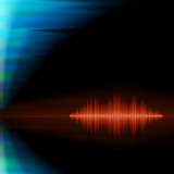 Orange sound waveform on polar lights background