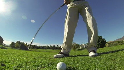 Slow Motion - Golfer Hits Chip Shot